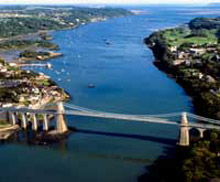 Aerial view of the Menai Bridge